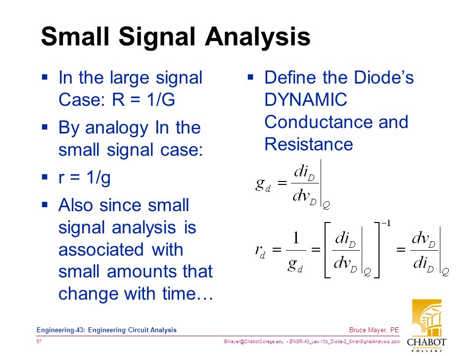 Small Signal Analysis In the large signal Case: R = 1/G