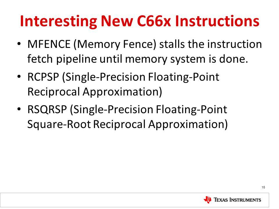 Interesting New C66x Instructions