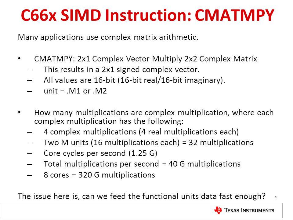 C66x SIMD Instruction: CMATMPY