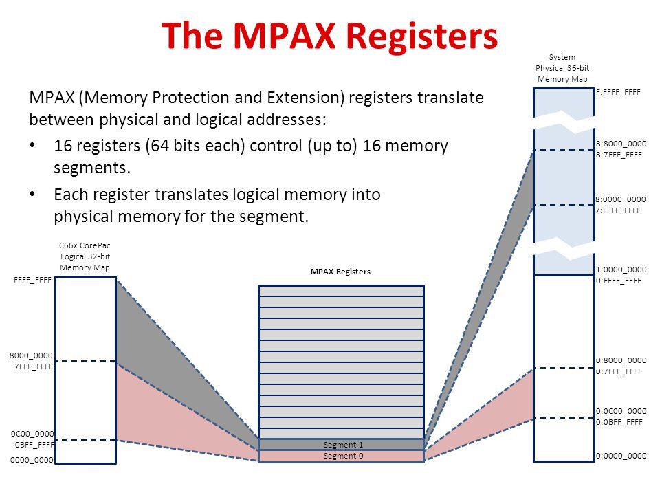 The MPAX Registers FFFF_FFFF. 8000_0000. 7FFF_FFFF. 0:8000_0000. 0:7FFF_FFFF. 1:0000_0000. 0:FFFF_FFFF.