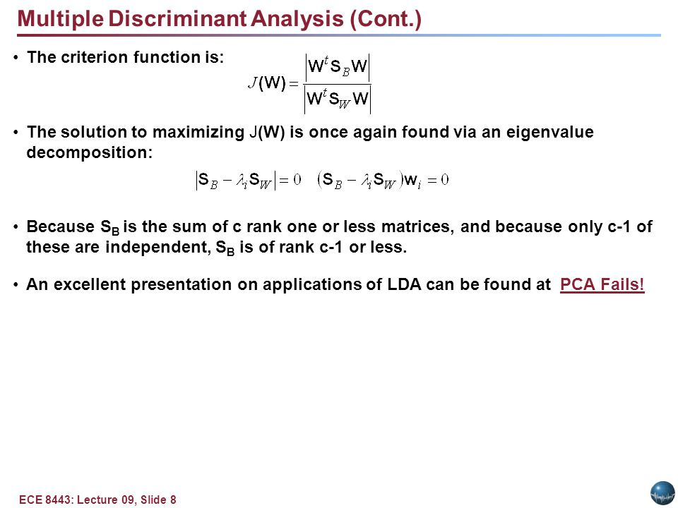 Summary Introduced Component Analysis.