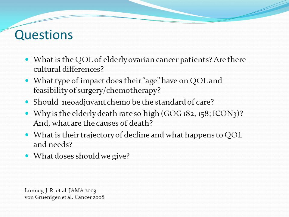 Questions What is the QOL of elderly ovarian cancer patients Are there cultural differences