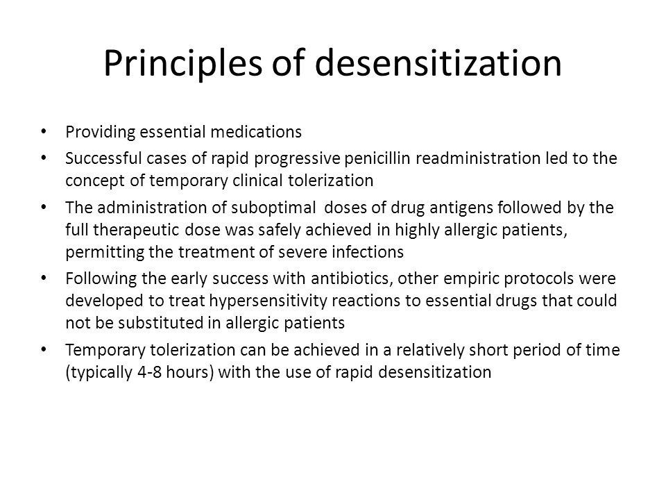 Principles of desensitization