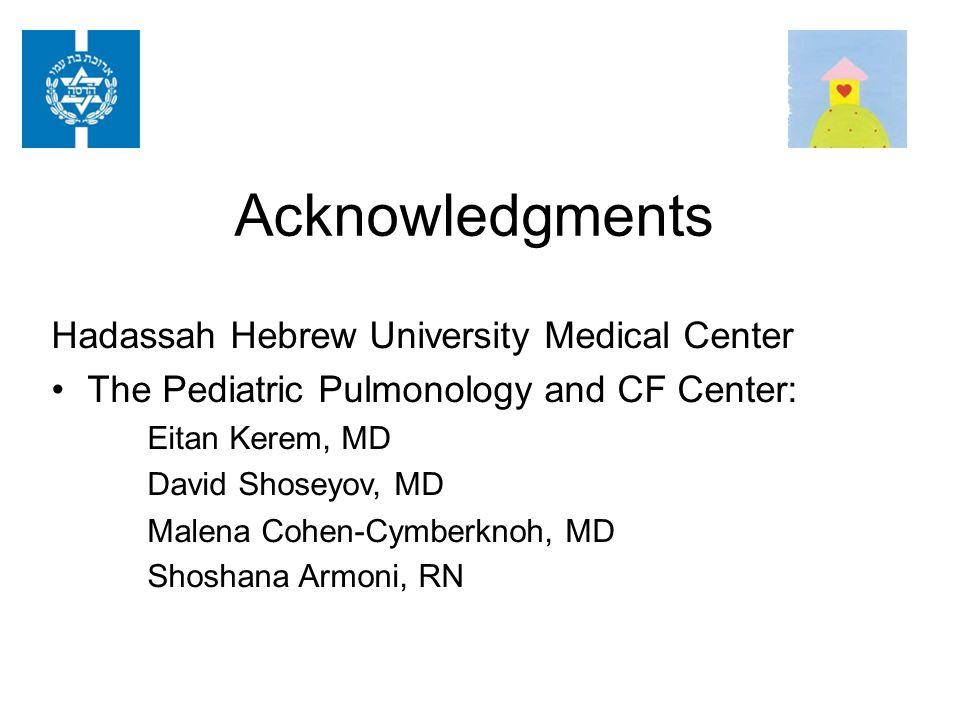 Acknowledgments Hadassah Hebrew University Medical Center