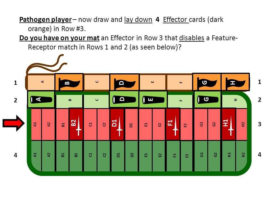 Pathogen player – now draw and lay down 4 Effector cards (dark orange) in Row #3. Do you have on your mat an Effector in Row 3 that disables a Feature- Receptor match in Rows 1 and 2 (as seen below)