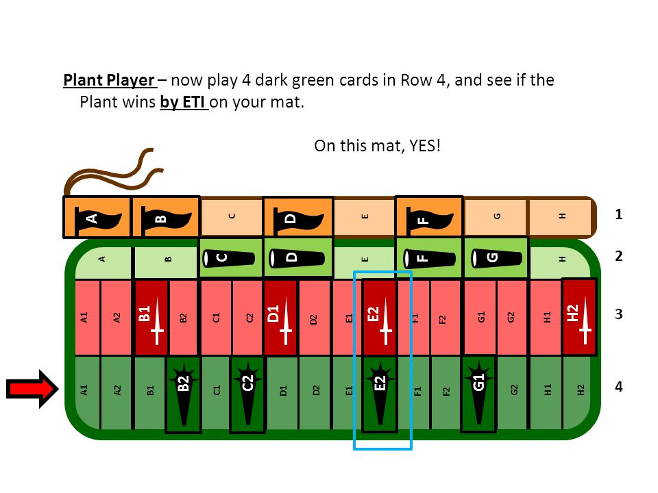Plant Player – now play 4 dark green cards in Row 4, and see if the Plant wins by ETI on your mat.