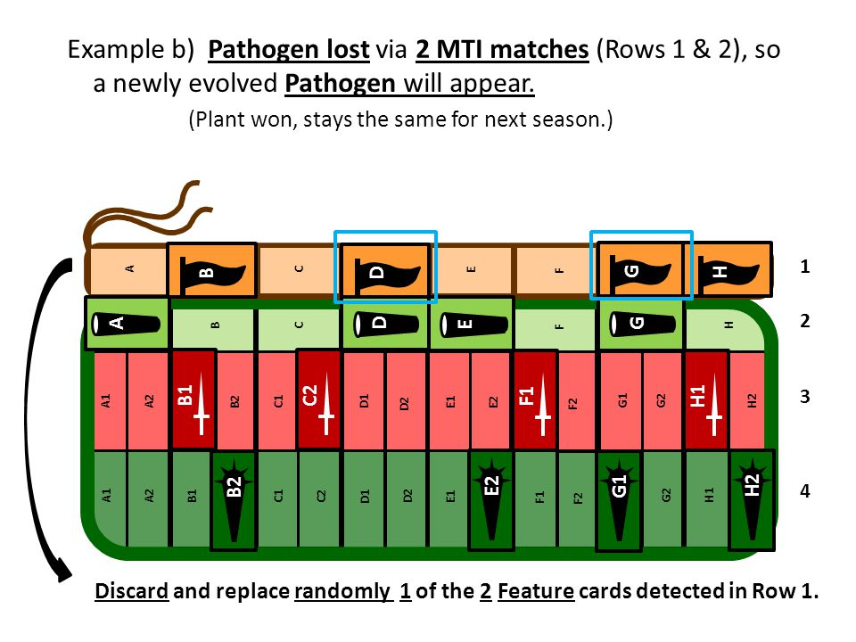 Example b) Pathogen lost via 2 MTI matches (Rows 1 & 2), so a newly evolved Pathogen will appear. (Plant won, stays the same for next season.)