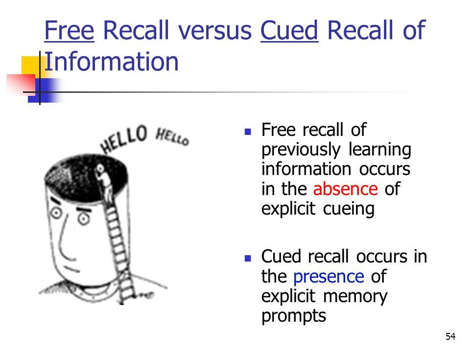 Free Recall versus Cued Recall of Information