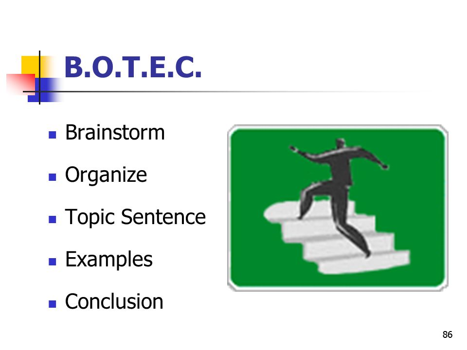 B.O.T.E.C. Brainstorm Organize Topic Sentence Examples Conclusion 86
