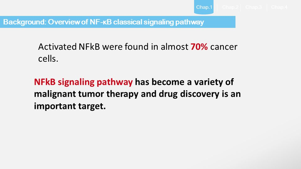Activated NFkB were found in almost 70% cancer cells.