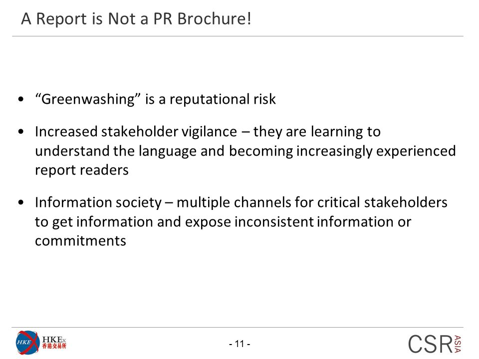 A Report is Not a PR Brochure!
