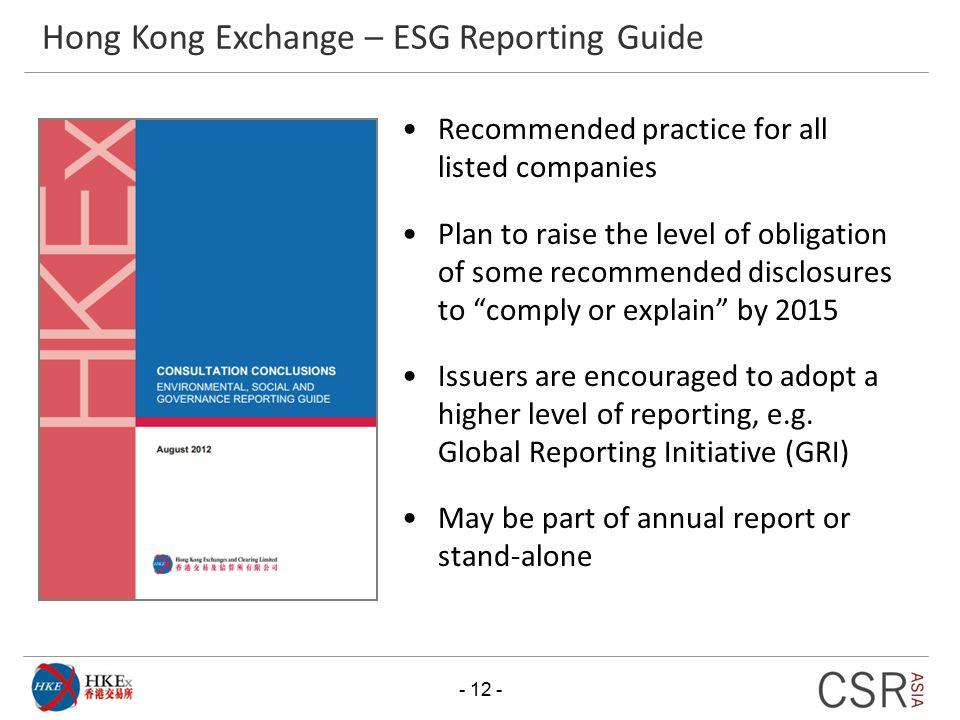 Hong Kong Exchange – ESG Reporting Guide