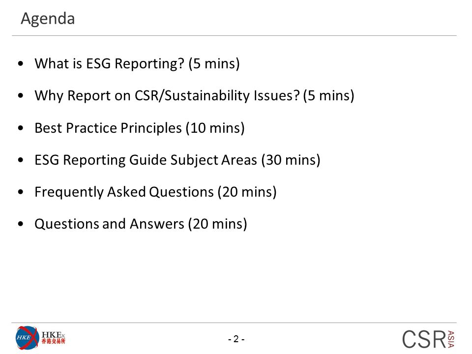 Agenda What is ESG Reporting (5 mins)