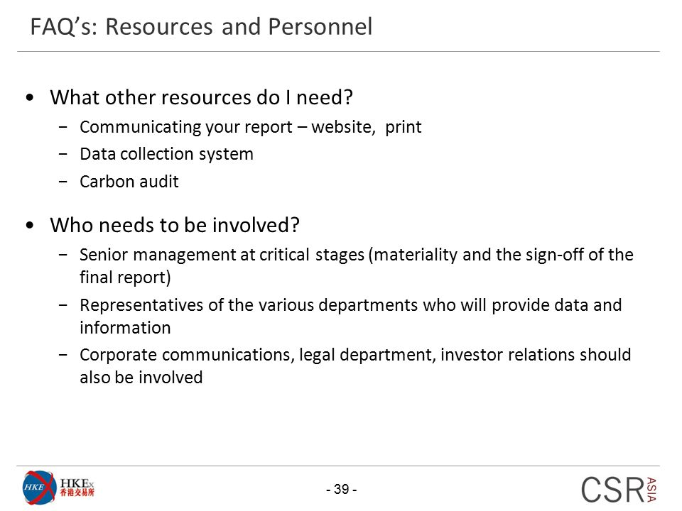 FAQ's: Resources and Personnel