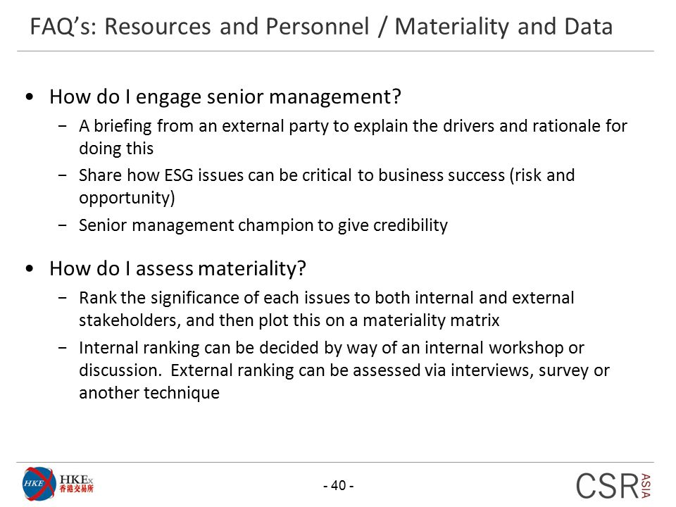 FAQ's: Resources and Personnel / Materiality and Data
