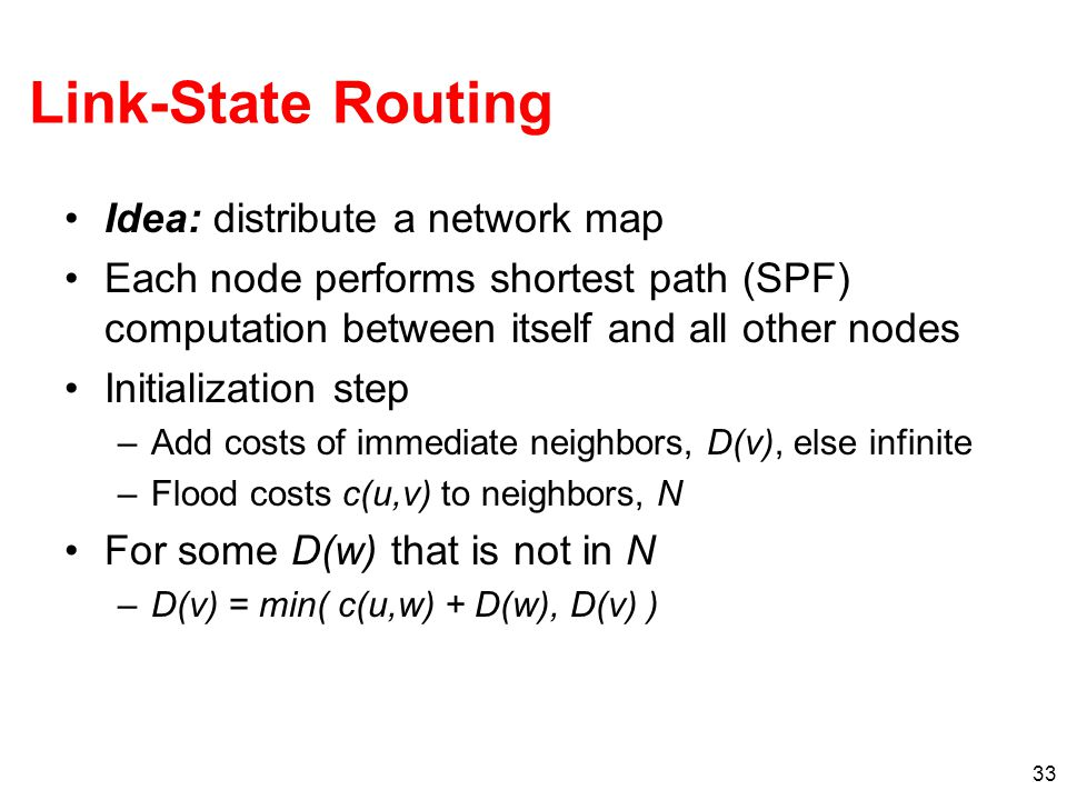 Link-State Routing Idea: distribute a network map