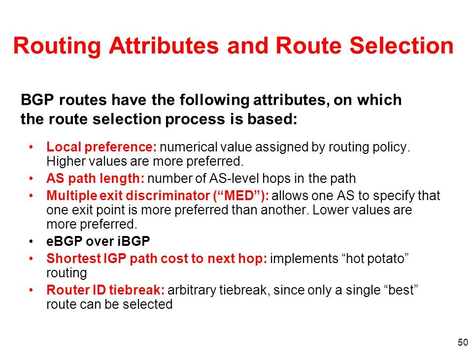 Routing Attributes and Route Selection