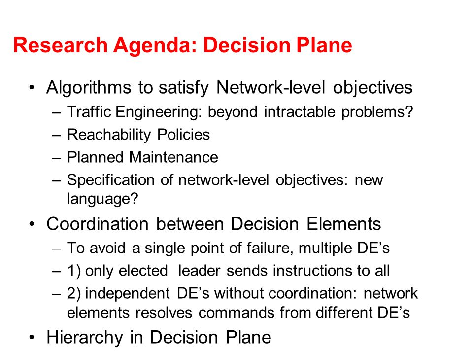 Research Agenda: Decision Plane