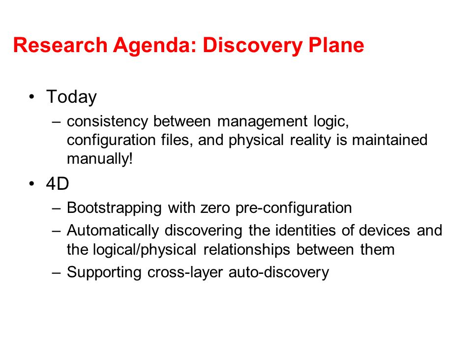 Research Agenda: Discovery Plane