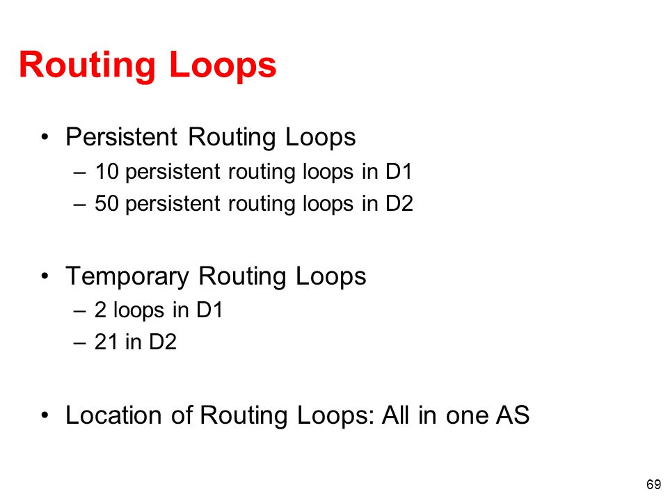 Routing Loops Persistent Routing Loops Temporary Routing Loops
