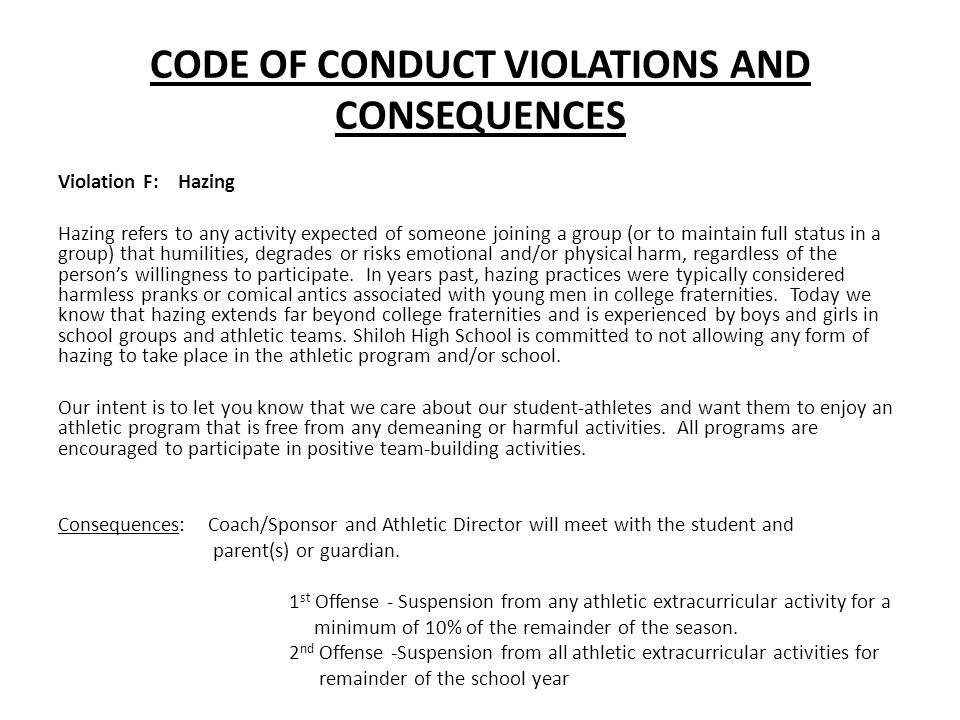 CODE OF CONDUCT VIOLATIONS AND CONSEQUENCES
