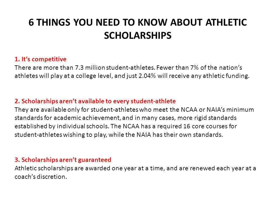 6 THINGS YOU NEED TO KNOW ABOUT ATHLETIC SCHOLARSHIPS