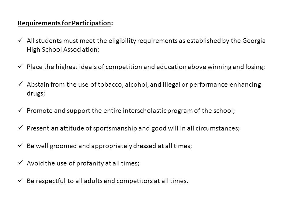 Requirements for Participation: