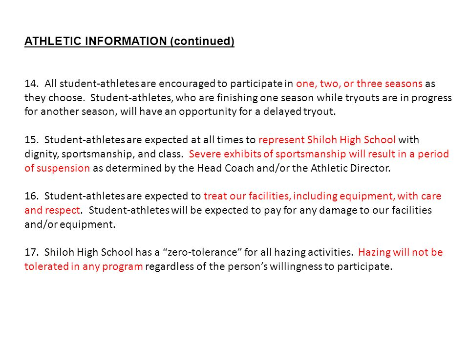 ATHLETIC INFORMATION (continued)