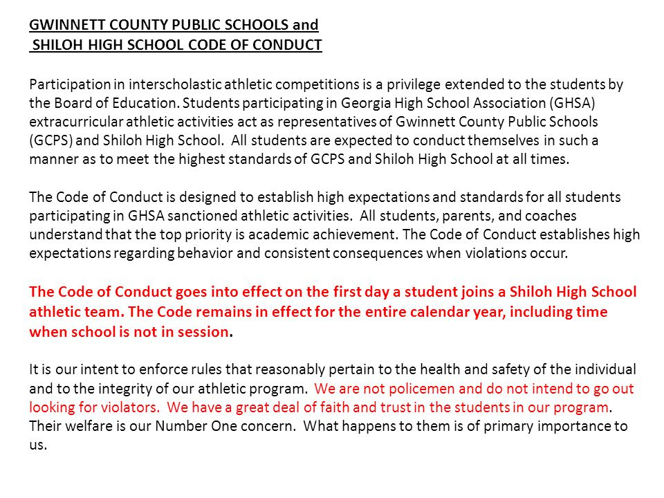 GWINNETT COUNTY PUBLIC SCHOOLS and SHILOH HIGH SCHOOL CODE OF CONDUCT