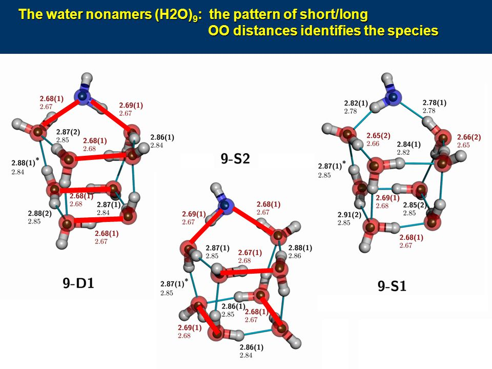 The water nonamers (H2O)9: the pattern of short/long