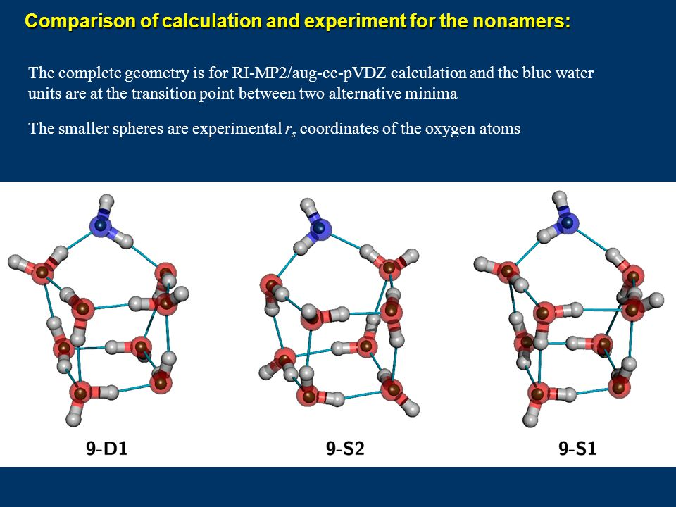 Comparison of calculation and experiment for the nonamers: