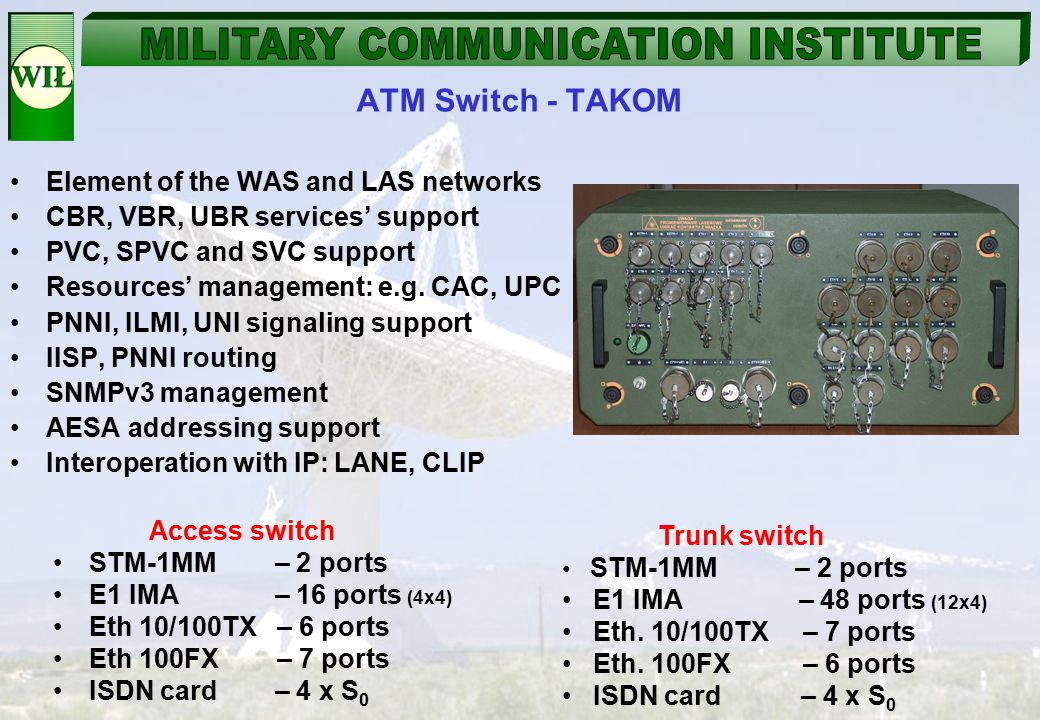 ATM Switch - TAKOM Element of the WAS and LAS networks