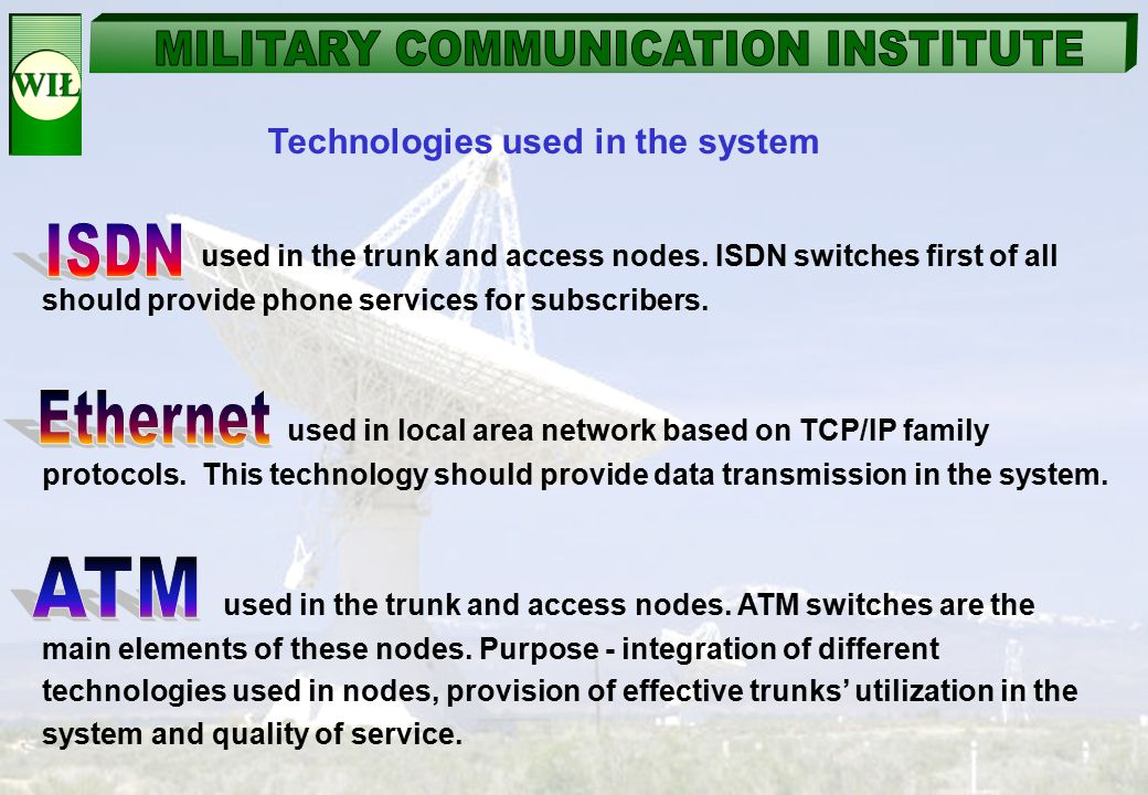 ISDN Ethernet ATM Technologies used in the system