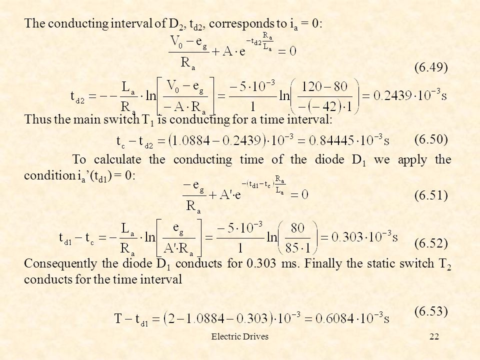 The conducting interval of D2, td2, corresponds to ia = 0: