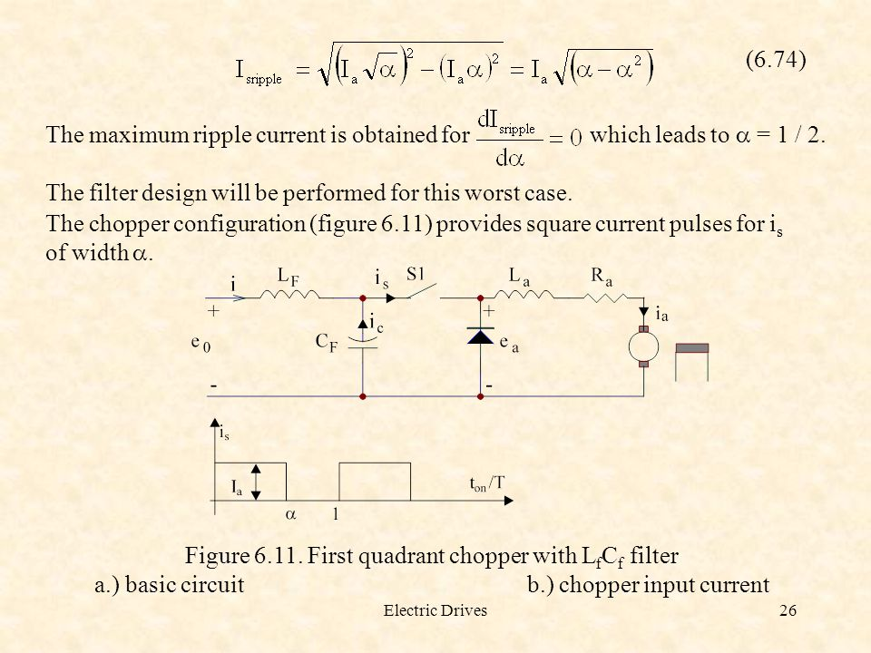 The maximum ripple current is obtained for which leads to a = 1 / 2.