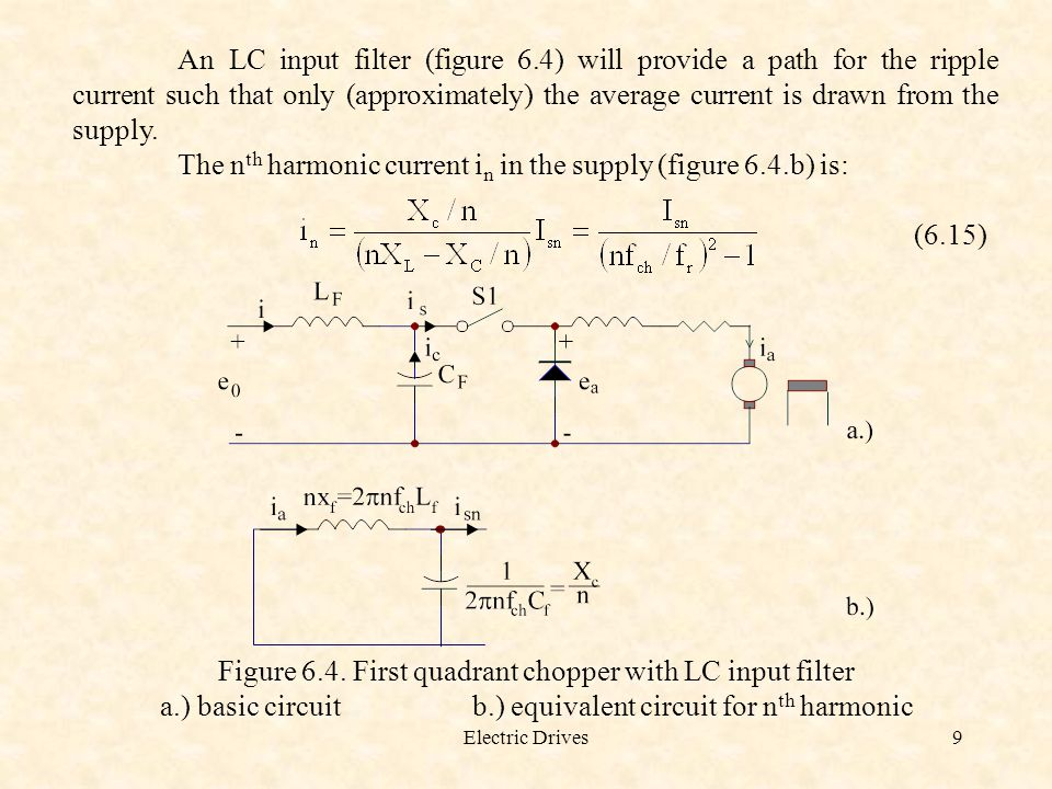 The nth harmonic current in in the supply (figure 6.4.b) is: (6.15)