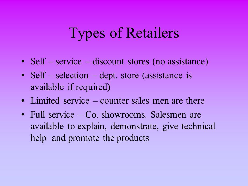 Types of Retailers Self – service – discount stores (no assistance)