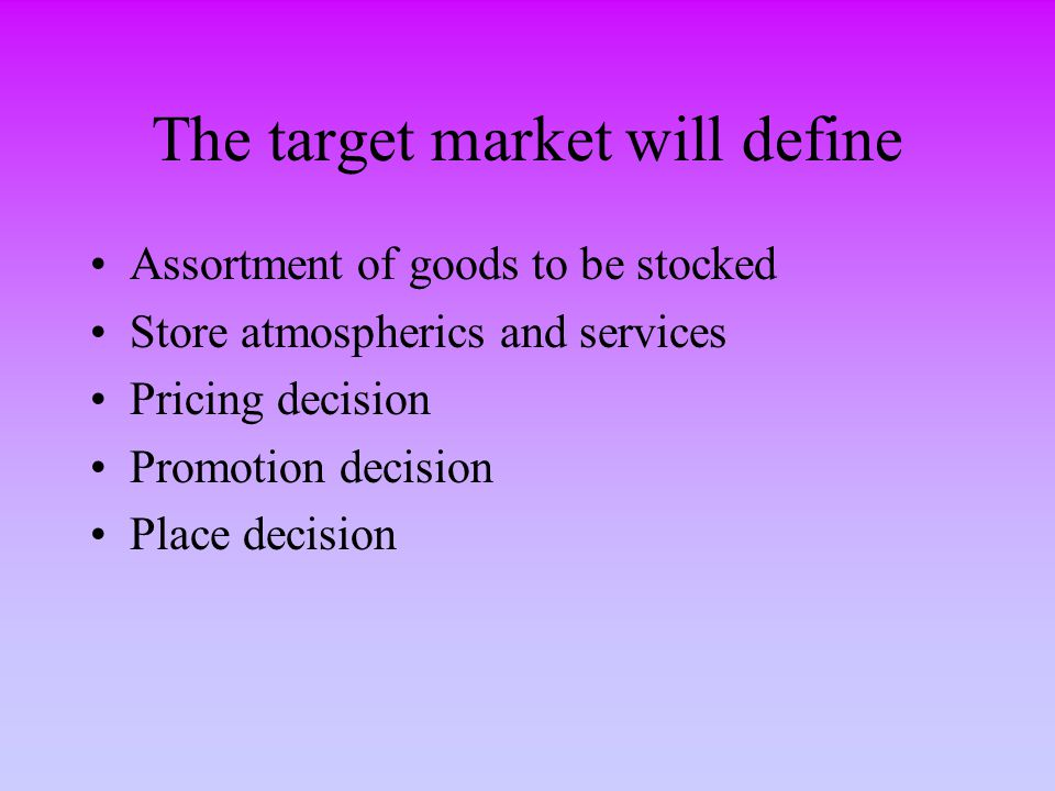 The target market will define