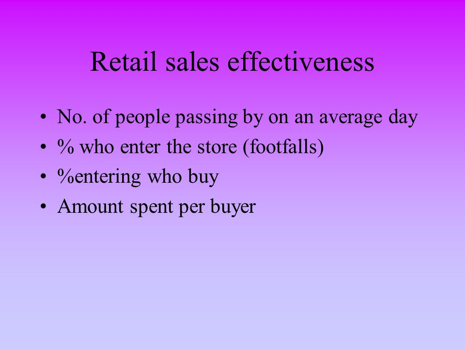 Retail sales effectiveness