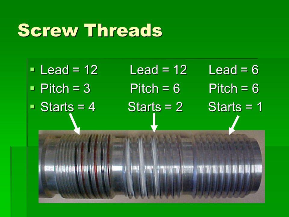 Screw Threads Lead = 12 Lead = 12 Lead = 6