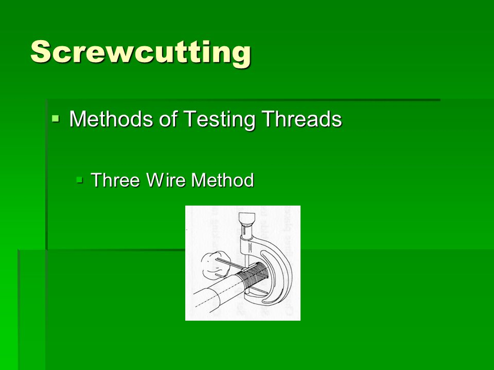 Screwcutting Methods of Testing Threads Three Wire Method