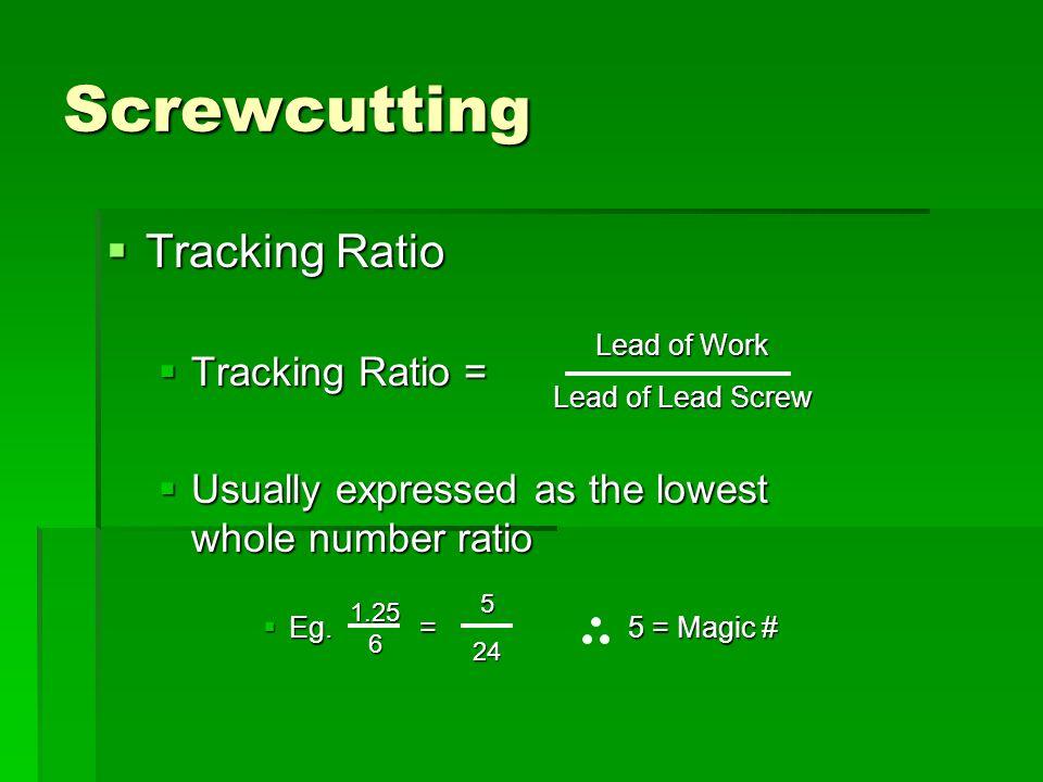 Screwcutting Tracking Ratio Tracking Ratio =