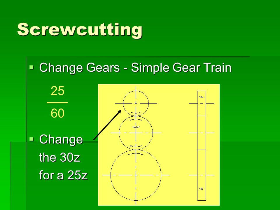 Screwcutting Change Gears - Simple Gear Train 25 60 Change the 30z