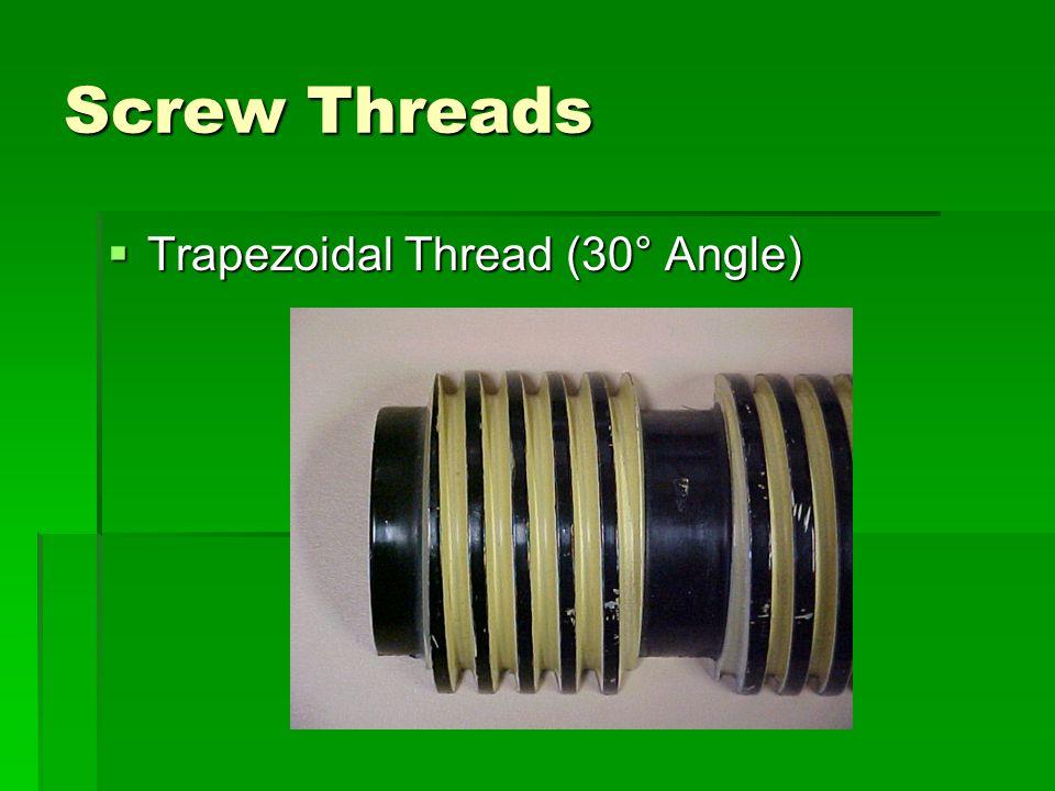 Screw Threads Trapezoidal Thread (30° Angle)