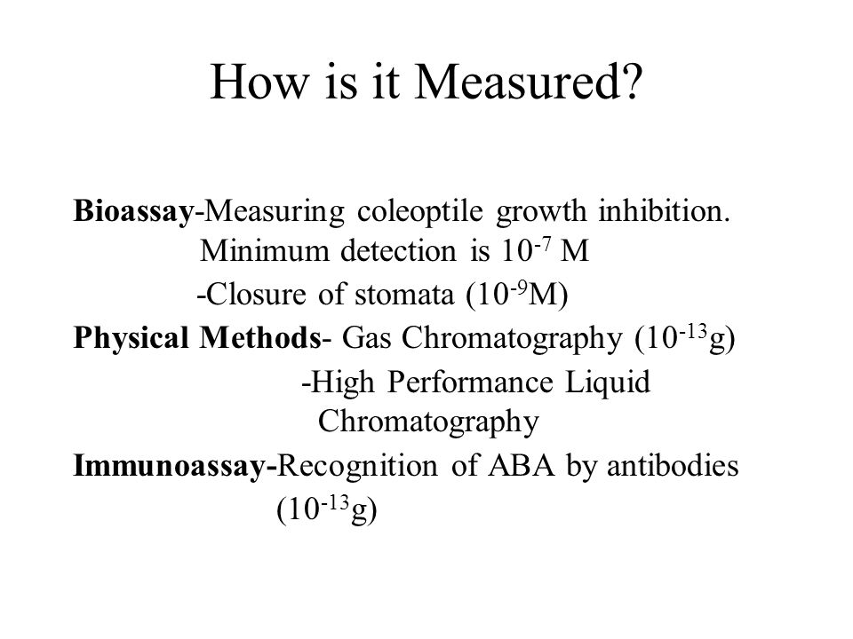 How is it Measured Bioassay-Measuring coleoptile growth inhibition. Minimum detection is 10-7 M.