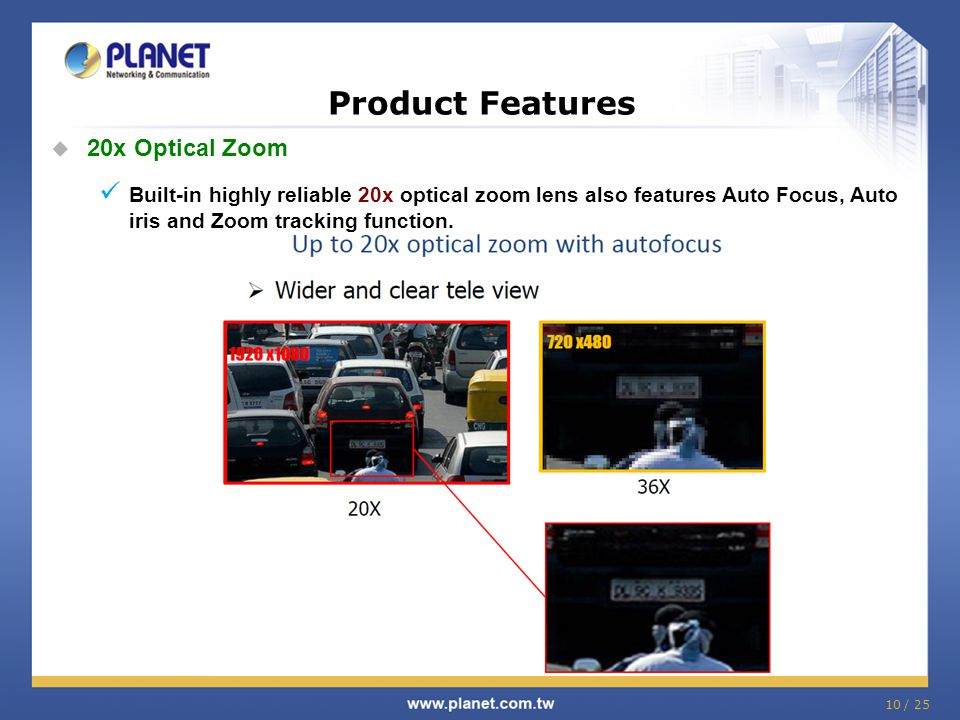 Product Features 20x Optical Zoom