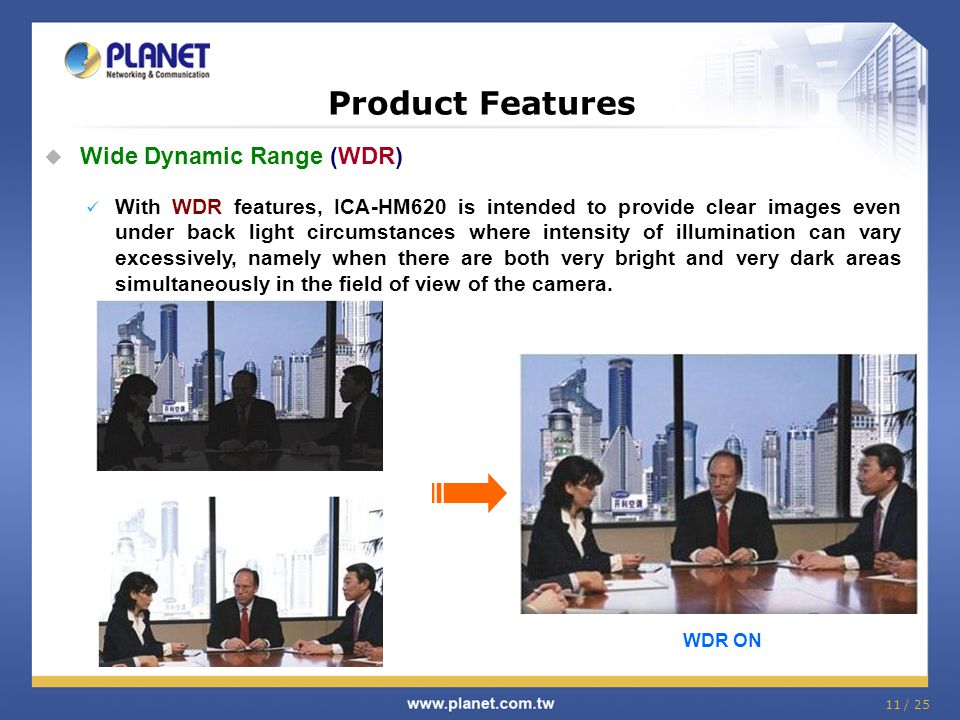 Product Features Wide Dynamic Range (WDR)