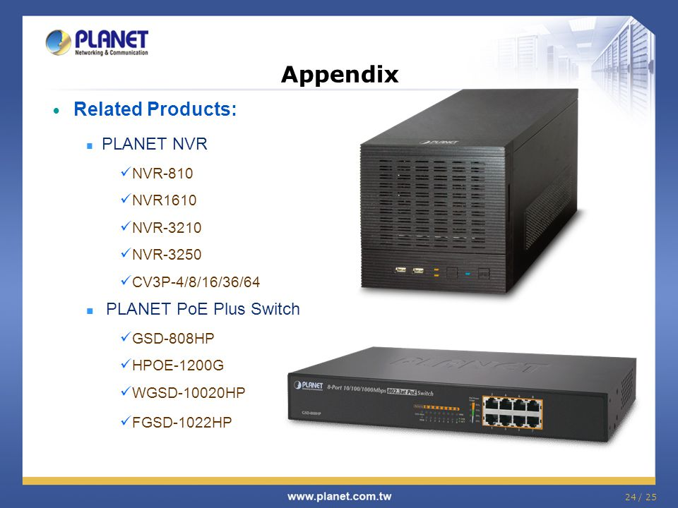 Appendix Related Products: PLANET PoE Plus Switch PLANET NVR NVR-810