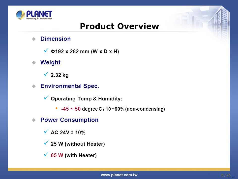 Product Overview Dimension Weight Environmental Spec.