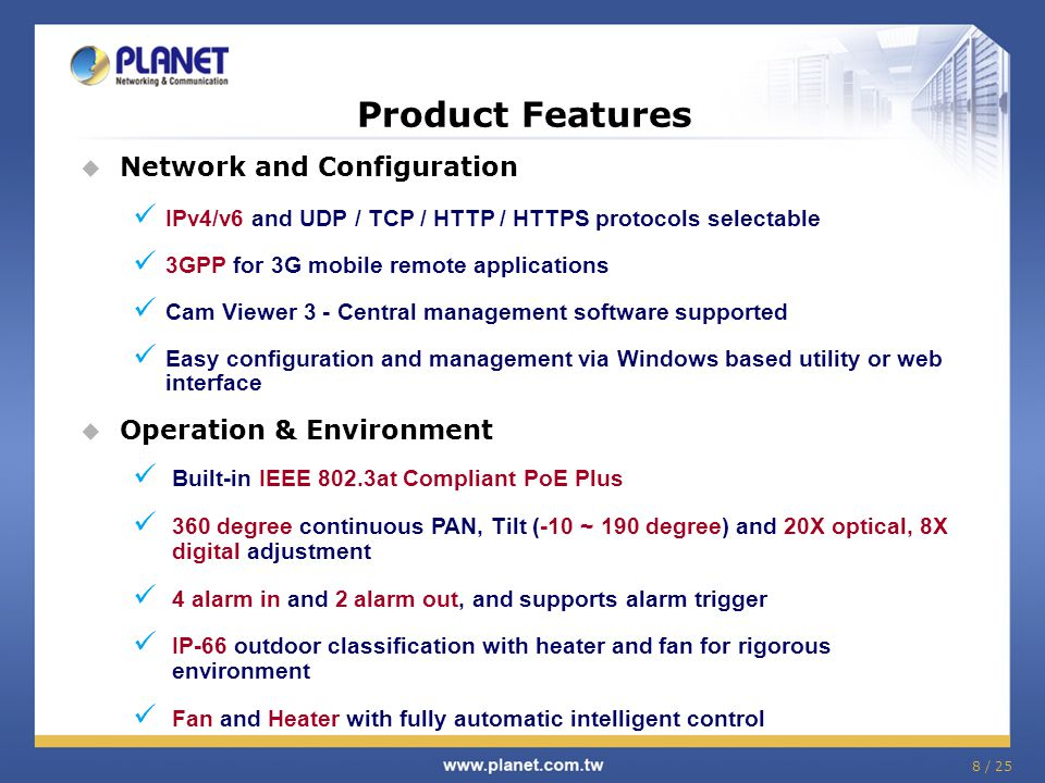 Product Features Network and Configuration Operation & Environment
